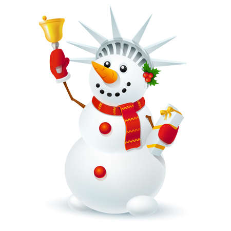 Christmas snowman with a bell and a gift in style of the Statue of Liberty