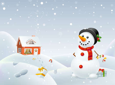 Christmas snowman helps Santa Stock Vector - 16818727