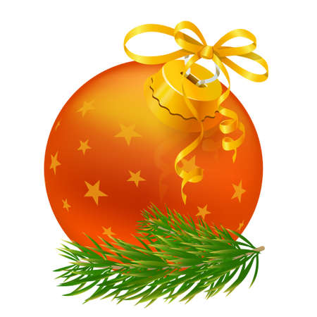 Christmas ball and green spruce branch  Иллюстрация