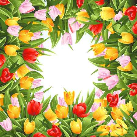 Flower background with tulips Vettoriali