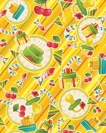 Seamless pattern with party supplies photo
