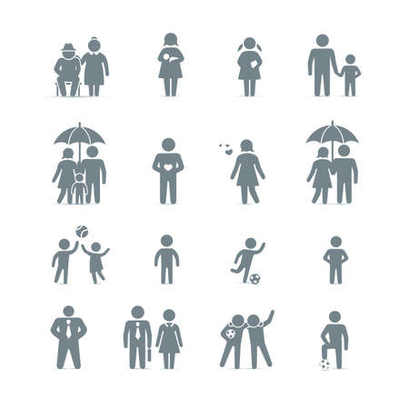 Familie en vrienden icon set