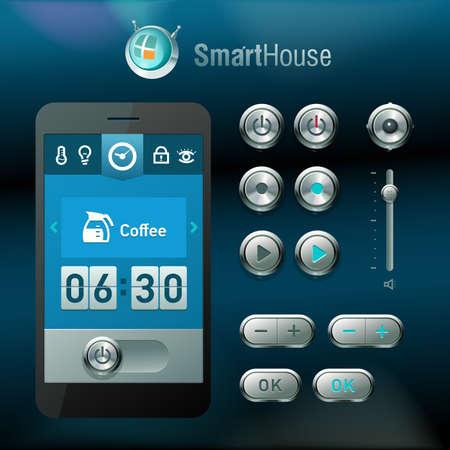 Interfaz móvil y los elementos para el sistema de casa inteligente. Ilustración de vector