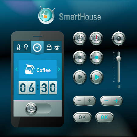 home button: Mobile interface and elements for smart house system.