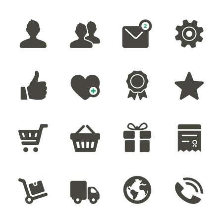 favoritos: Iconos universales Set. Perfil, Favoritos, Ir de compras, servicio. Esquinas redondeadas.