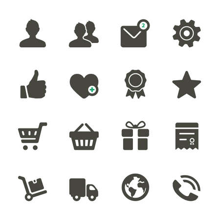 Universal icons set. Profile, Favorites, Shopping, Service. Rounded corners.