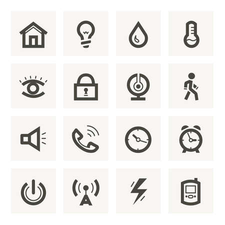 iconos de música: Icono fijado para el sistema de seguridad y domótica. Vectores