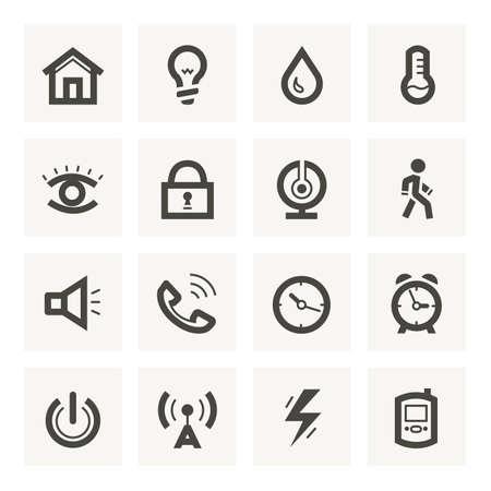 termometro: Set di icone per sistema di sicurezza e di automazione di casa.