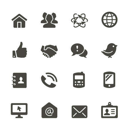 icons: Communication and media icons. Rounded corners.