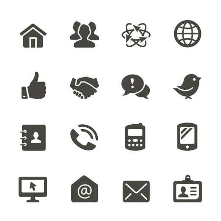 stretta di mano: Comunicazione e dei media icone. Angoli arrotondati.