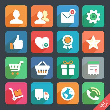 favoritos: Iconos planos universales para Web y aplicaciones m�viles. Perfil, Favoritos, Ir de compras, servicio. Vectores