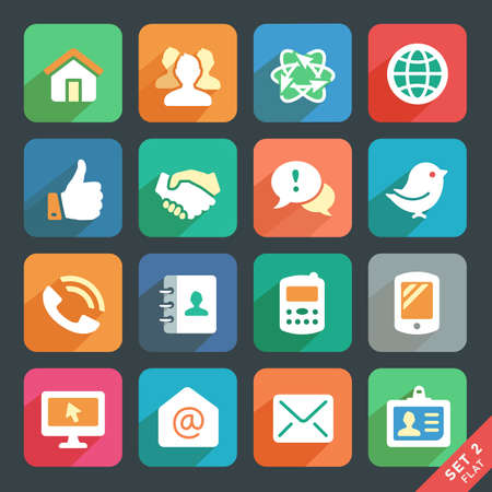contact book: Communication and media  Flat icons for Web and Mobile App.