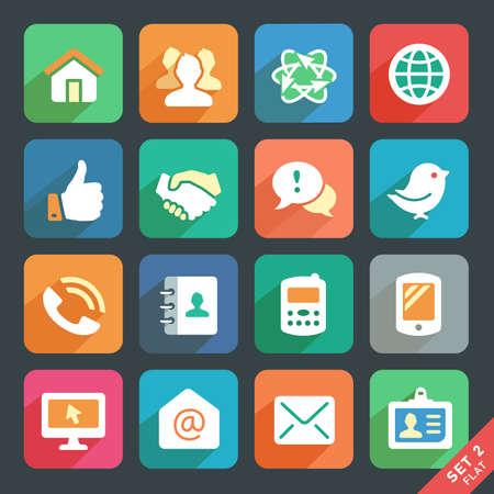 Comunicación y medios iconos planos para Web y aplicaciones móviles. Ilustración de vector