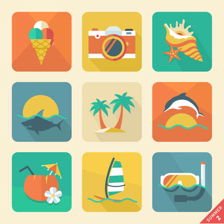 flat leaf: Summer icon Retro color   Illustration