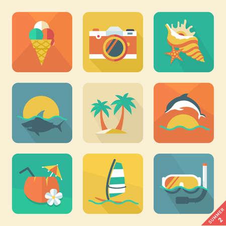 hawaii flower: Summer icon Retro color   Illustration