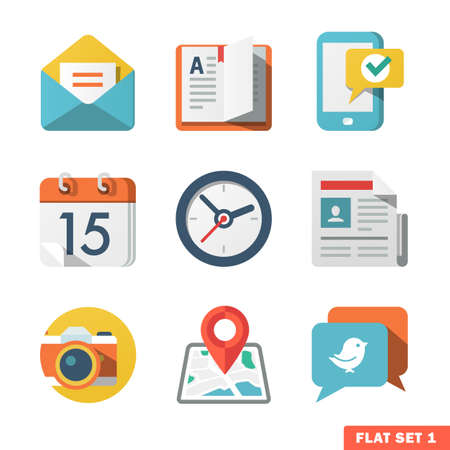 Basic Flat icon set for Web and Mobile Application  News, communications  向量圖像