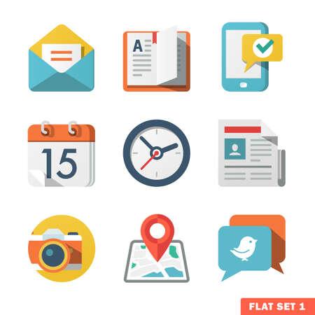 Podstawowe Flat icon ustawić dla sieci Web i Mobile Aktualności aplikacyjny O, łączności Ilustracje wektorowe