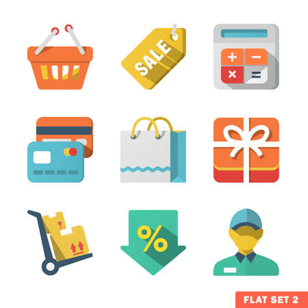 gift bags: Shopping Flat icon set for Web and Mobile Application