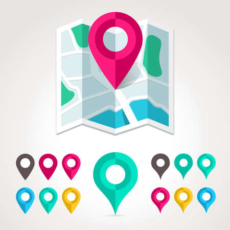 Map markers and flat map icon