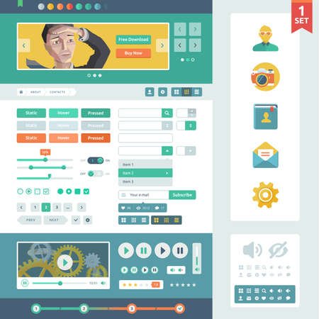 Vector UI elements for web and mobile  Flat design trend  Controls, buttons,icons and media player  Fitted to the pixel grid  Illustration