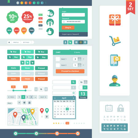 Vector UI elements for web and mobile  Flat design trend  Labels, buttons and icons  Fitted to the pixel grid  Vector