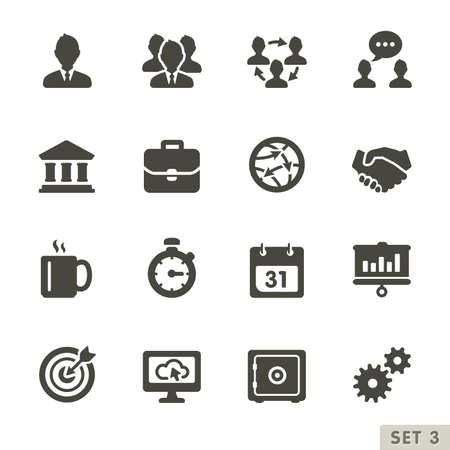 zeitplan: Büro-und Business-Symbole Abgerundete