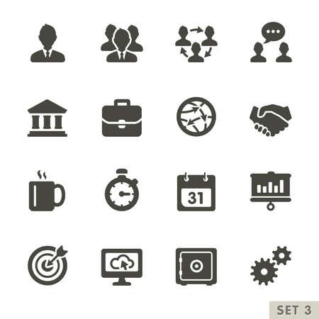 doelstelling: Kantoor-en zakelijke iconen Afgeronde