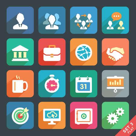 gestion del tiempo: Oficina y de negocios iconos planos para aplicaciones Web y Móvil