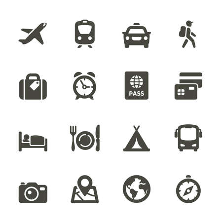 Traveling and transport icons for Web and Mobile App  Rounded Illustration