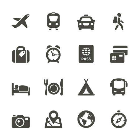 Reizen en vervoer pictogrammen voor web en mobiele applicatie Afgeronde Stock Illustratie