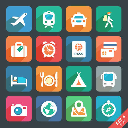 Traveling and transport Flat icons for Web and Mobile Applications  Vector