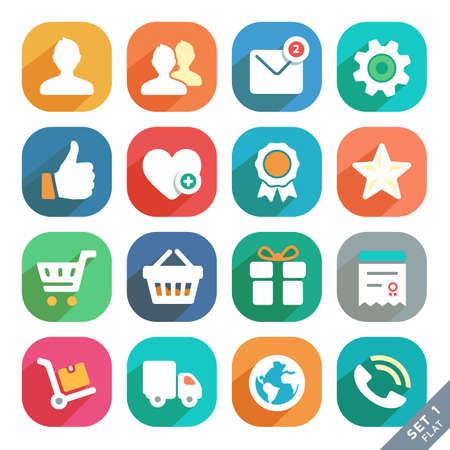 favoritos: Iconos planos universales para Web y Mobile App perfil, Favoritos, Ir de compras, Servicio