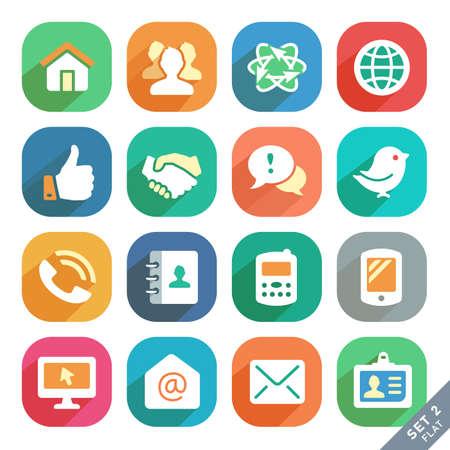 contact book: Comunicaci�n y medios iconos planos para aplicaciones Web y M�vil