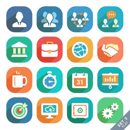 Office and business Flat icons for Web and Mobile Applications. Vettoriali