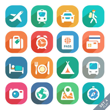 travel icons: Traveling and transport Flat icons for Web and Mobile Applications.