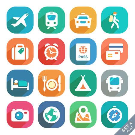 travel: 旅遊和交通扁平圖標為Web和移動應用。 向量圖像