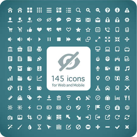 Set of 145 quality icons for Web and Mobile  Fitted to the pixel grid 16x16  Profile icons, media, computers, shopping, travel, business, navigation  Light version with shadow