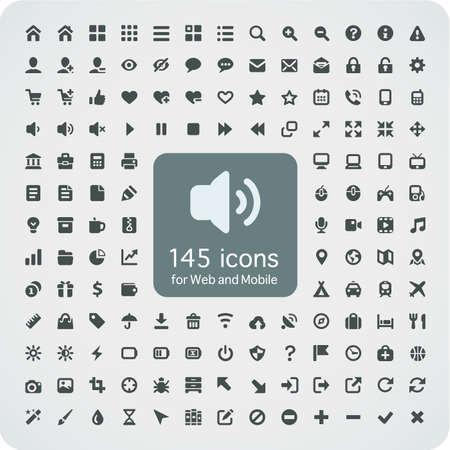 Ensemble de 145 icônes de qualité pour le Web et mobile monté sur la grille de pixels médias 16x16, ordinateurs, shopping, voyage, affaires, la navigation, un service Banque d'images - 20983492