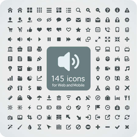 Set of 145 quality icons for Web and Mobile  Fitted to the pixel grid 16x16  Media, computers, shopping, travel, business, navigation, service Illustration