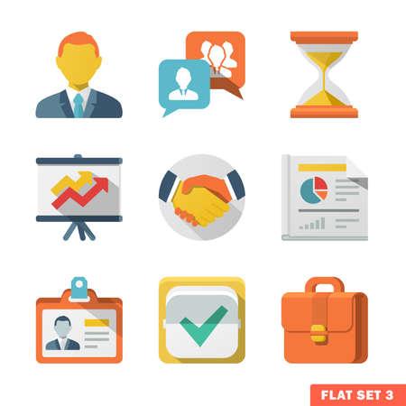 웹 및 모바일 응용 프로그램에 대한 비즈니스 플랫 아이콘.