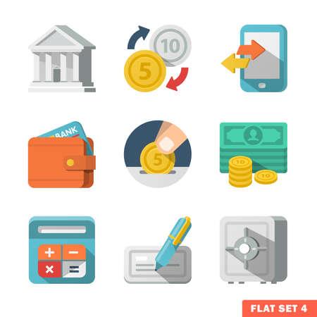 Web およびモバイル アプリケーションのためのお金フラット アイコン。