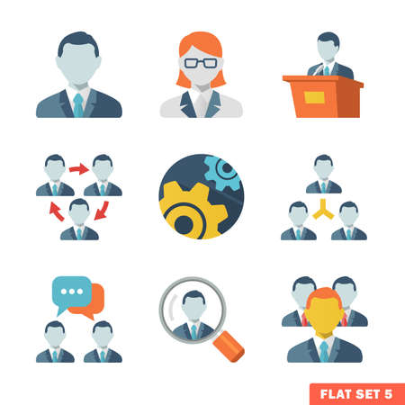 Business people Flat icons for Web and Mobile Application  Vector