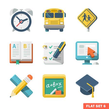 enseñanza: Educación escolar iconos planos para Web y aplicaciones móviles Vectores