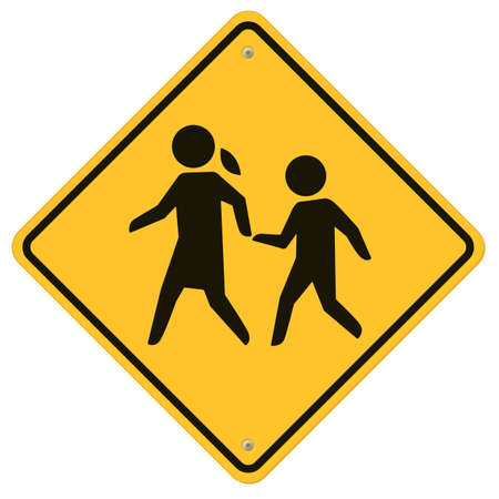 hazard sign: School warning sign, School Traffic sign, roadsign with warning for crossing kids