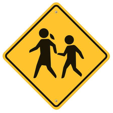 Segnale di avvertimento Scuola, Traffico Scuola segno, cartello con avvertimento per l'attraversamento bambini Archivio Fotografico - 21748867