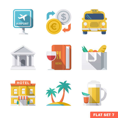 house exchange: Traveling Flat Icons 1