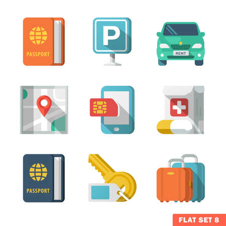 cars parking: Traveling Flat Icons 2