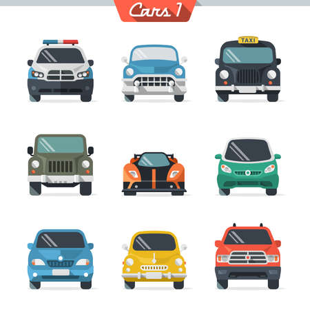 front wheel drive: Car icon set 1.