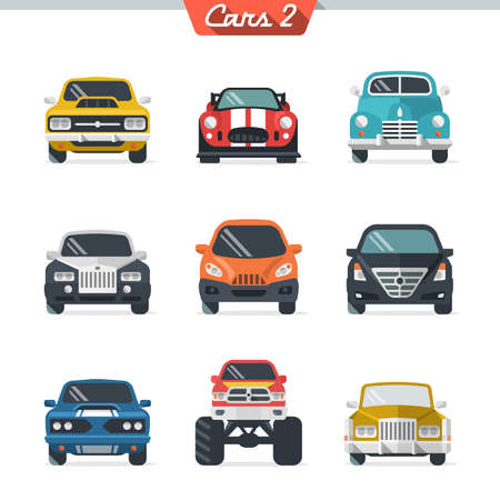 vintage truck: Car icon set 2.