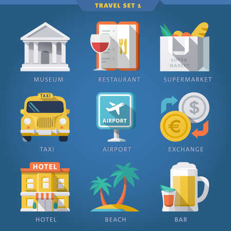 Travel icon set 1. Vector